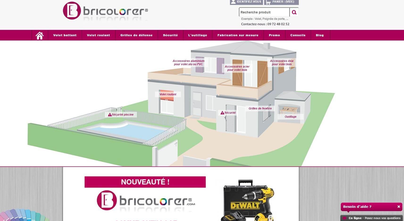 Capture d'écran du site Bricolorer.