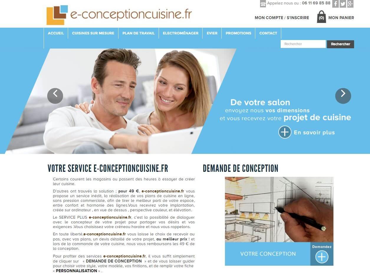 Capture d'écran du site e-conceptioncuisine.fr.