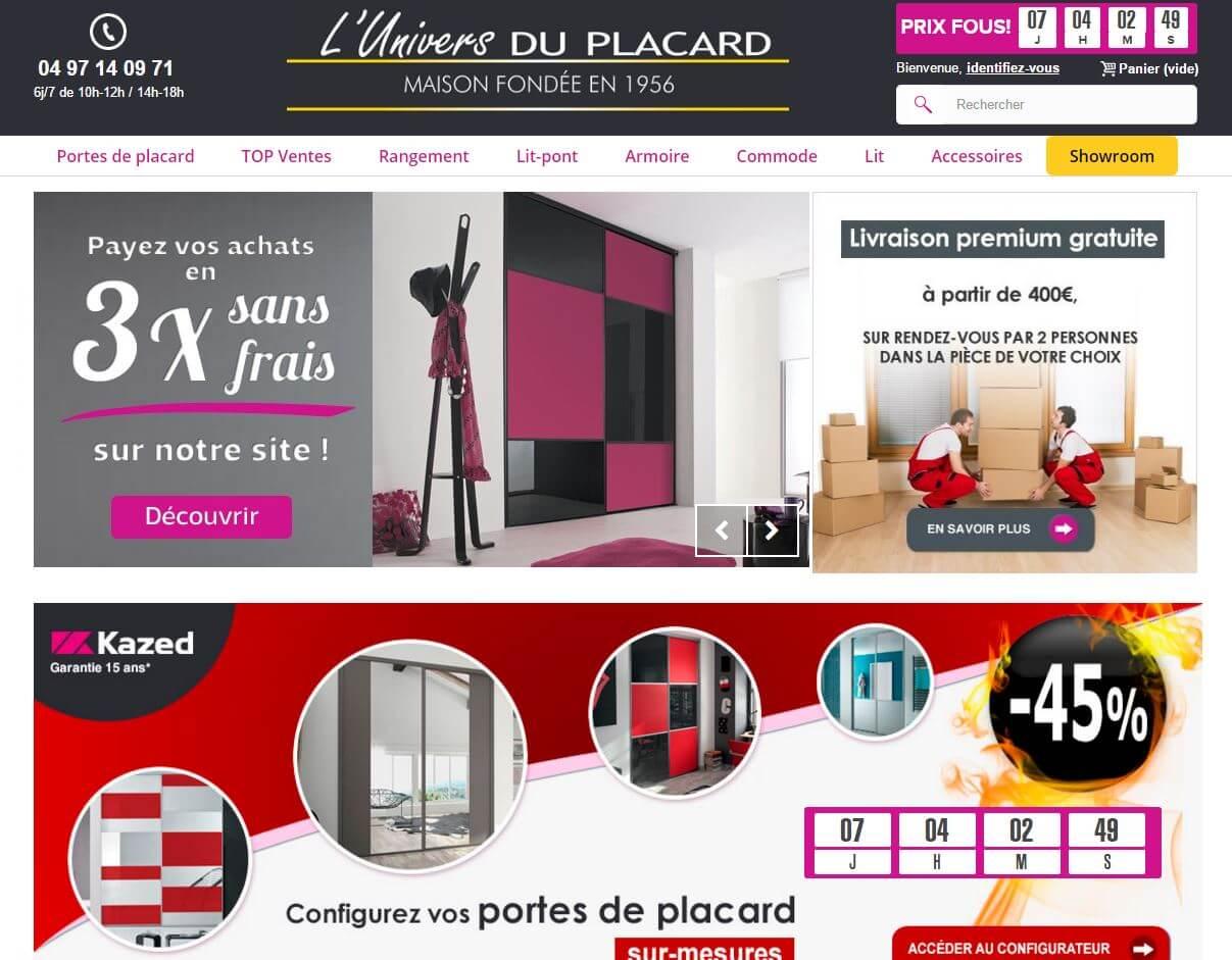 Capture d'écran du site de L'Univers du Placard.
