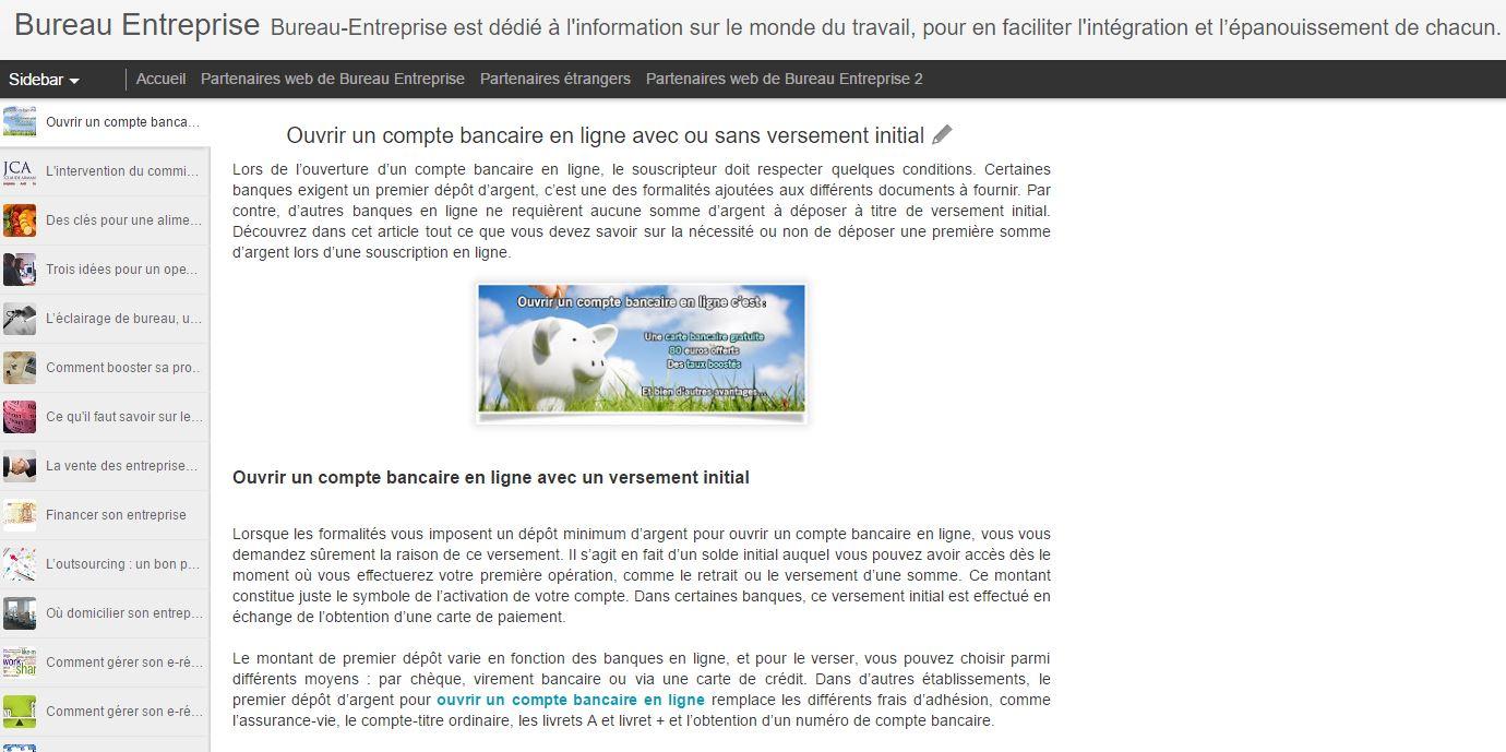 Capture d'écran du site Bureau entreprise.