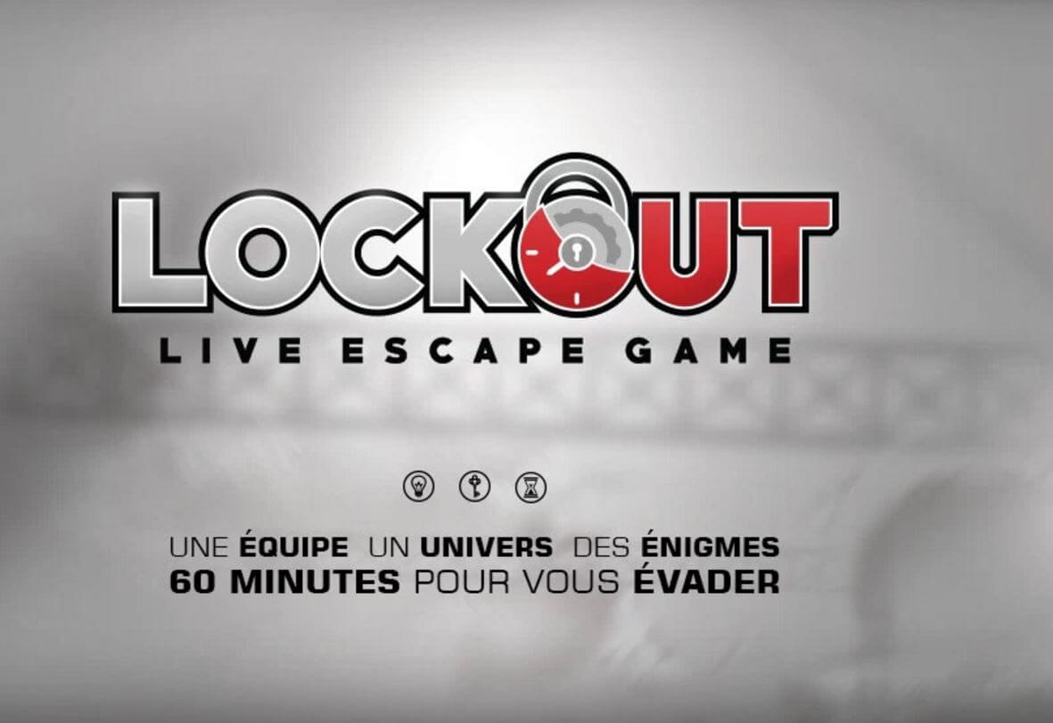 Page d'accueil de Lockout Live Escape Game à Antibes.