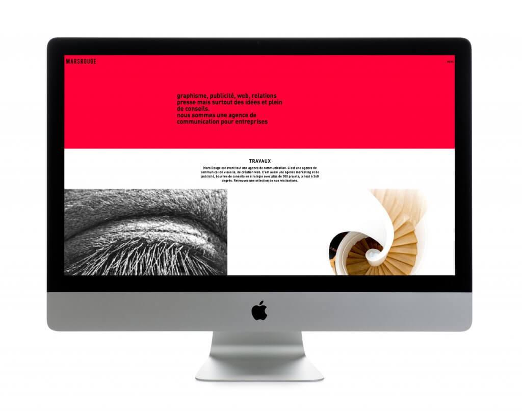 Le site internet de l'agence de communication MARS ROUGE en Alsace.